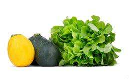 Verse slabladeren en enkelen gele en groene die courgette, op een witte achtergrond wordt geïsoleerd Groente van een tuin Stock Afbeeldingen