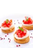 Verse smakelijke bruschetta met mozarella Stock Foto's