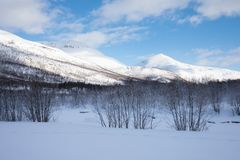 Verse sneeuw op de Troms-provincie na de korte winter in Mei Een mooi ijzig landschap in het landschap van de de winterwinter in  royalty-vrije stock fotografie