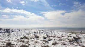Verse sneeuw op gouden strand royalty-vrije stock foto's
