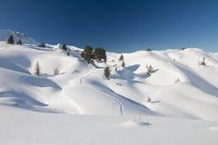 Verse sneeuwlandschap en sporen Stock Foto's