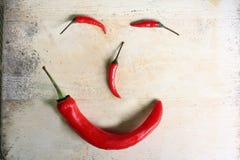 Verse Spaanse peper roodgloeiende ingrediënten Stock Foto's