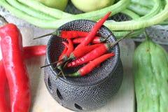 Verse Spaanse peper roodgloeiende ingrediënten Royalty-vrije Stock Foto