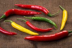 Verse Spaanse peperpeper - gele, groene en rode Spaanse peperpeper Royalty-vrije Stock Fotografie