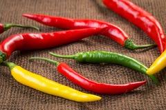 Verse Spaanse peperpeper - gele, groene en rode Spaanse peperpeper Stock Fotografie