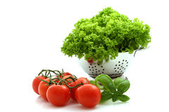 Verse tomaat en sla stock afbeelding