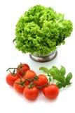 Verse tomaat en sla stock foto's