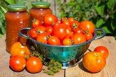 Verse tomaten en eigengemaakt tomatesap stock afbeelding
