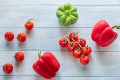 Verse tomaten en peper Stock Fotografie