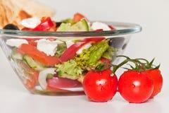 Verse tomaten en salade Royalty-vrije Stock Afbeeldingen
