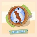 Verse tonijn in mand - vector illustratie