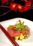 Verse tonijn, mango en komkommer tartare stock fotografie