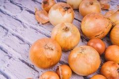 Verse uibollen op witte achtergrond Groenten voor een gezonde voeding De uien zijn rijk aan nuttige vitaminen Uischil stock foto's