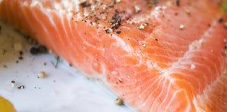 Verse van de het voedselfotografie van de zalmfilet het receptenidentiteitskaart stock foto