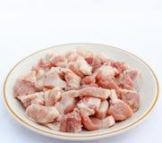 Verse varkensvleesbesnoeiing in stukken Stock Fotografie