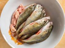 Verse Vissen De verse toppositie van riviervissen en visseëieren in een witte plat stock foto's