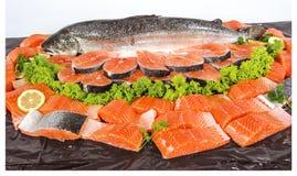Verse vissen en besnoeiingsstukken stock foto's