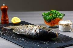 Verse vissen met aromatische kruiden, kruiden, zout, flessen met olijfolie en balsemieke azijn, karper op leidienblad op een nat  royalty-vrije stock foto's
