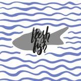 Verse vissen met golven Stock Afbeelding