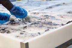 Verse vissen op ijs in supermarkt Royalty-vrije Stock Fotografie