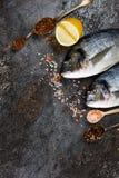 Verse vissendorado op grunge geweven achtergrond Stock Afbeelding