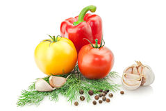 Verse vitamineachtergrond met knoflook Stock Afbeelding
