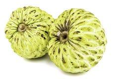 Verse Vla Apple of Rijp Sugar Apple Fruit Annona, sweetsop Geïsoleerd op witte achtergrond met het knippen van weg/goed-tak Royalty-vrije Stock Foto