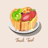 Verse vlaai met kiwi, bosbessen, sinaasappel en aardbeiverstand vector illustratie