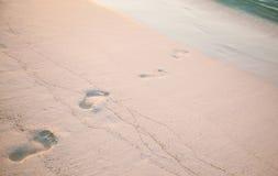 Verse voetstappen op het strand royalty-vrije stock afbeeldingen