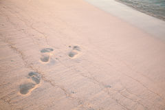 Verse voetstappen op het zandige strand stock foto