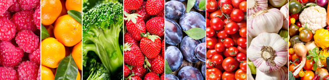 Verse vruchten en groenten, banner stock foto's