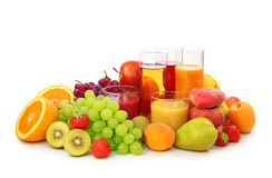 Verse vruchten en sap stock foto