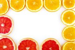 Verse vruchten ringen geplaatst die op witte achtergrond worden geïsoleerd Royalty-vrije Stock Afbeelding