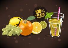 Verse Vruchten voor Gedrukt Juice With An Orange, Citroen, Kalk, Gra Stock Foto