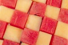 Verse watermeloenen en meloenen stock foto's
