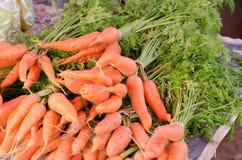 verse wortelen voor verkoop bij lokale landbouwersmarkt Stock Afbeeldingen