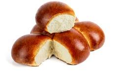 Verse zachte broodjes op een witte achtergrond Royalty-vrije Stock Afbeelding