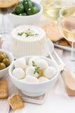 Verse zachte kazen, crackers en groenten in het zuur aan verticale wijn, Stock Foto's
