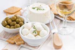 Verse zachte kazen, crackers en groenten in het zuur aan wijn, close-up Stock Afbeeldingen