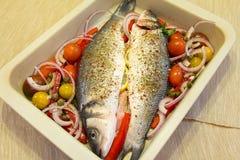 Verse zeebaars met groenten Royalty-vrije Stock Fotografie