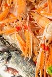 Verse zeekreeften in openluchtvissenmarkt in Venetië, Italië Stock Foto
