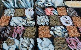 Verse zeevruchten bij een vissenmarkt royalty-vrije stock afbeelding