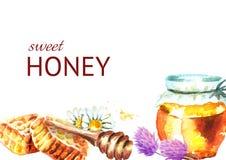Verse zoete honingsachtergrond Waterverfhand getrokken illustratie Stock Fotografie