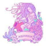 Verseau de signe de zodiaque Beau jeune homme avec de longs cheveux tenant la grande amphore Palette en pastel de goth illustration libre de droits