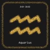 verseau Scintillement d'or de connexion de zodiaque d'icône Signe et astrologie d'horoscope Images libres de droits