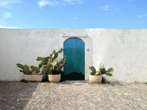 Versehen Sie zum meeres- Ostuni die weiße Stadt Puglia, Italien mit einem Gatter Lizenzfreies Stockfoto