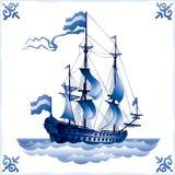 Versenden Sie auf der holländischen Fliese 1, Fregatte Stockfoto
