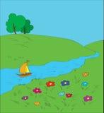 Versenden Sie das schwimmen hinunter den Fluss am Sommer. Stockfoto