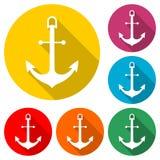 Versenden Sie flache Ikone des Ankers oder des Bootsankers, Farbikone mit langem Schatten Lizenzfreie Stockfotografie