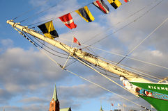 Versenden Sie Rickmer Rickmers in Hamburg-Hafen - Repräsentationsfigur Lizenzfreies Stockbild